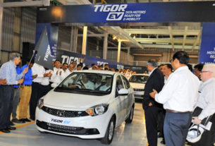 Not Nano but Tigor electric vehicle rolls out from Tata Motor Sanand plant.
