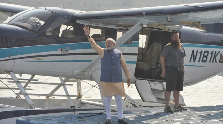 Seaplane on its first voyage in India today, PM Narendra Modi to be the 1st passenger.